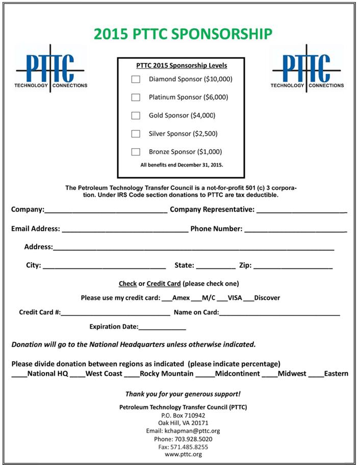 Sponsor PTTC – Sponsorship Request Form